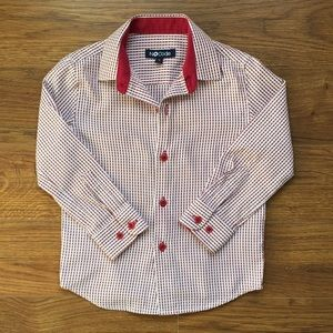 Boys size 4 red and white button down shirt